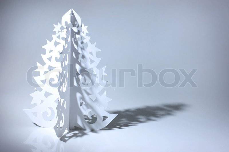 Handmade Christmas Tree Cut Out From Office Paper Stock