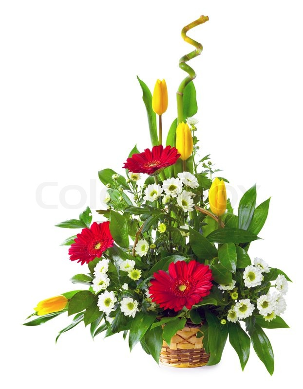 Bright Flower Bouquet In Basket Isolated Over White