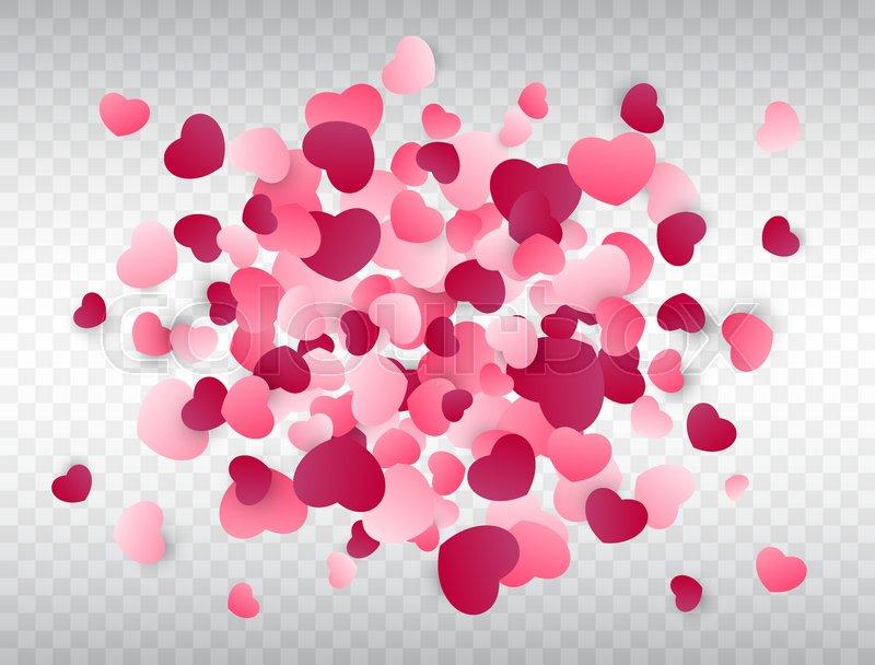 Heart Confetti Splash Love Background Pink Confetti