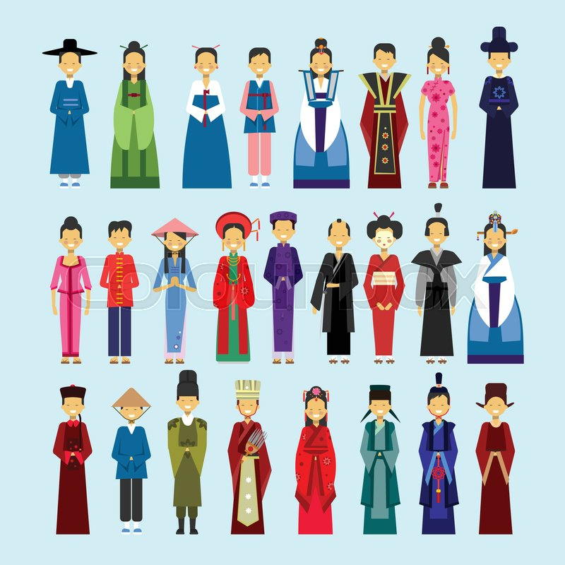 Set Of People In Traditional Asian Clothing Male And