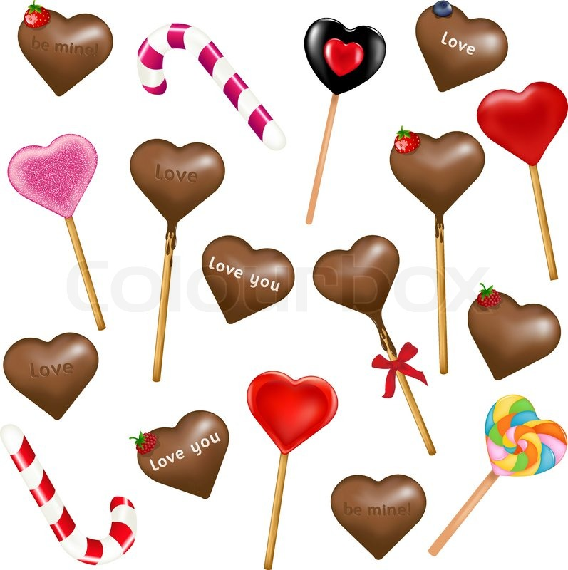 17 Heart Shape Lollipops Isolated On White Background
