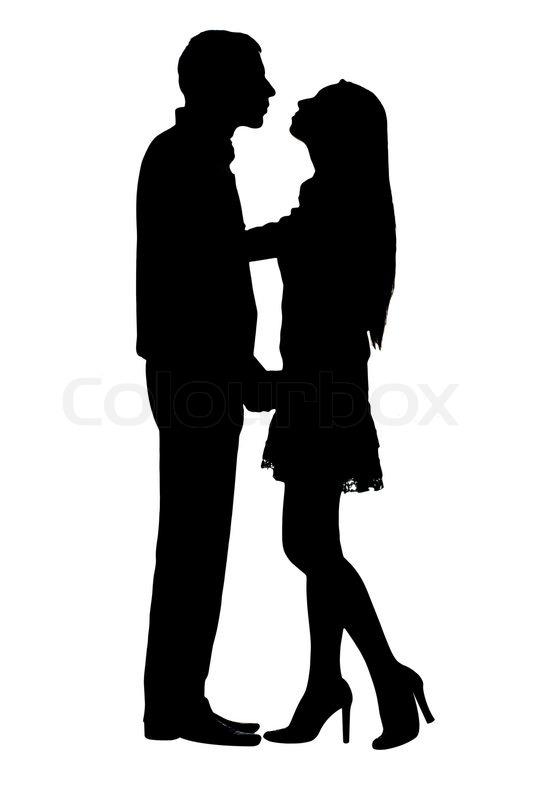 Silhouetten Auf Paar Unter Dem Weien Hintergrund Stecken