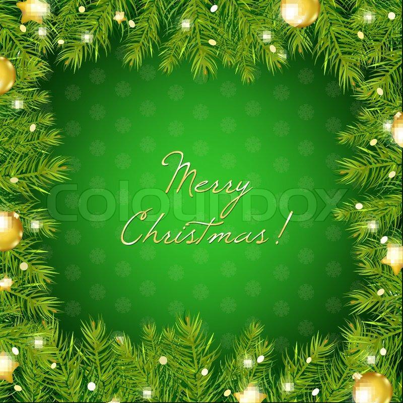 Christmas Tree Border With And Gold Ball Vector