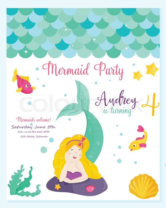 bright invitation card with cute fairy