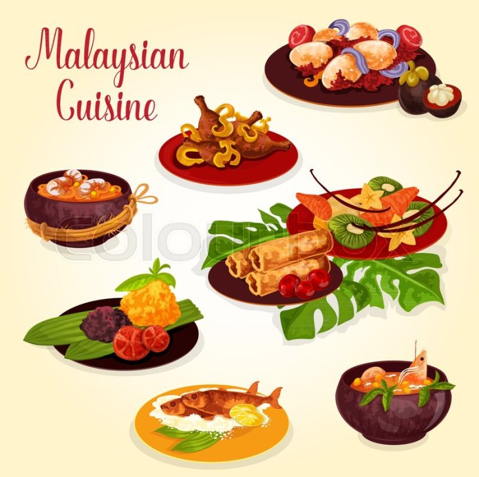 Malaysian Cuisine Icon With Indonesian Stock Vector Colourbox