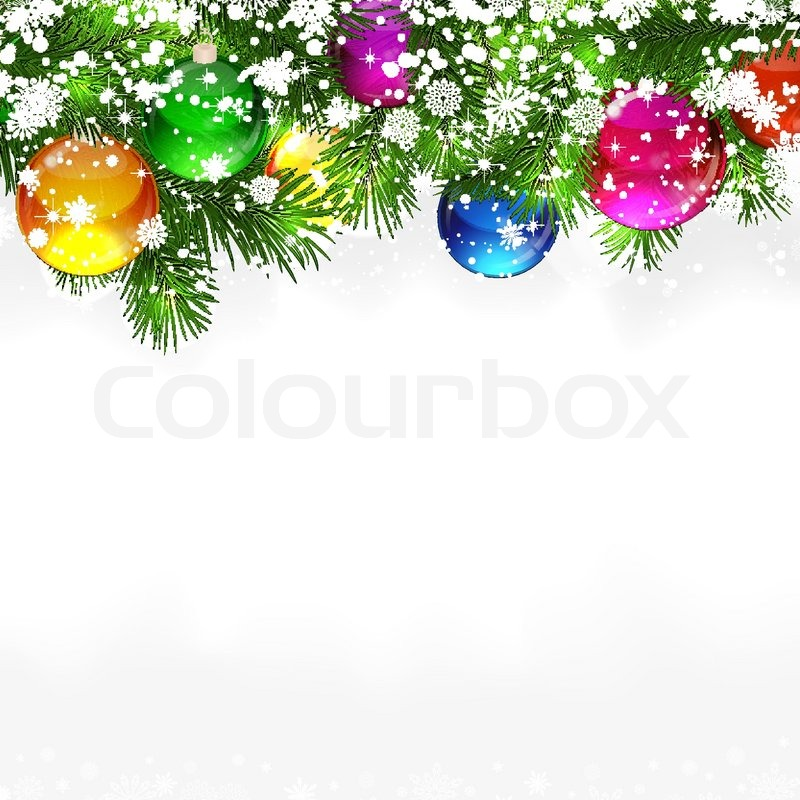 Christmas Background With Snow Covered Branches Of