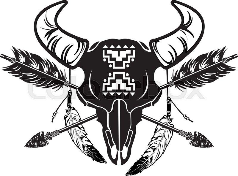 Native American Indian Symbol Buffalo Stock Vector Colourbox