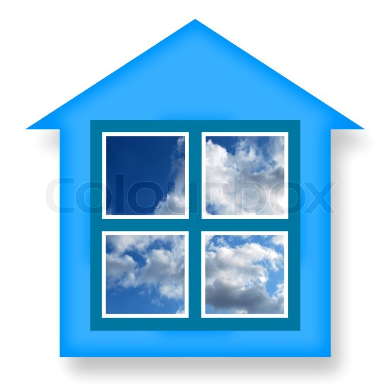 Dream House Concept With Ideal Home And Blue Sky In Windows On A White Background Stock Photo