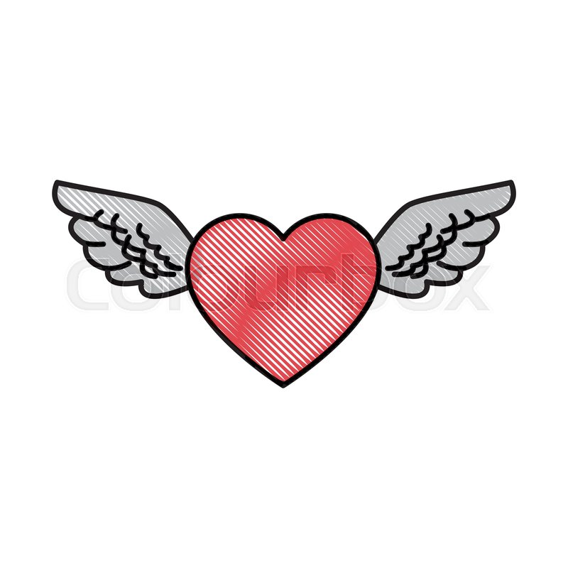 Drawing Romantic Heart Wings Cute Stock Vector Colourbox