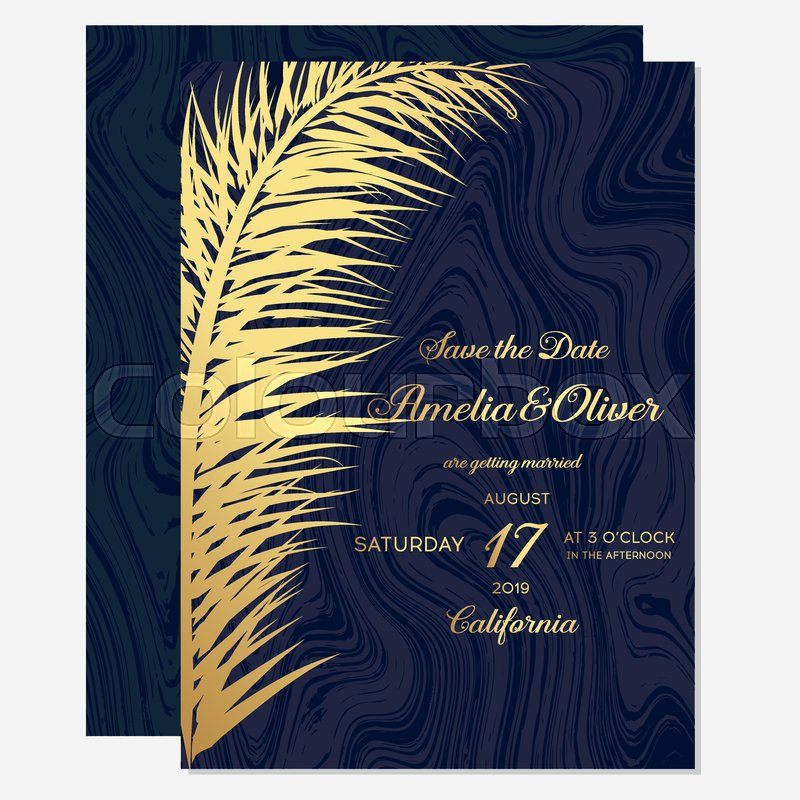 set wedding invitation cards with gold