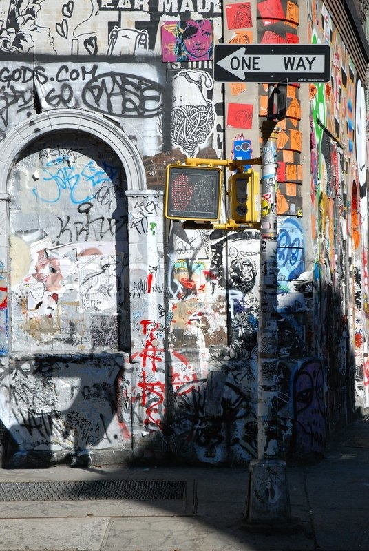 Typical Urban Scene In New York Graffiti And A One Way