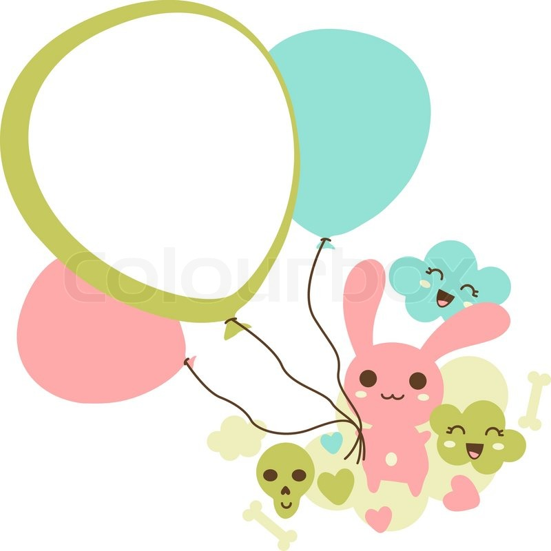 Funny Background With Doodle Vector Kawaii Illustration