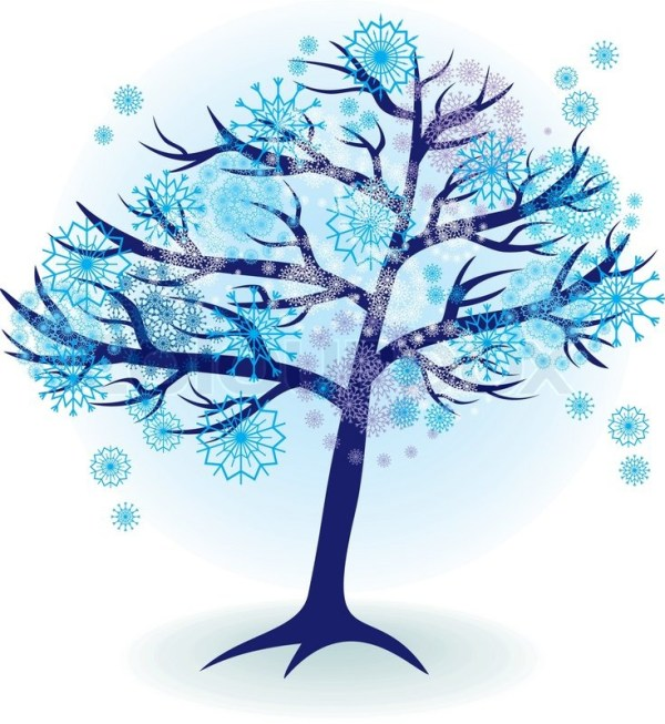 Season tree for winter with snowflakes Stock vector