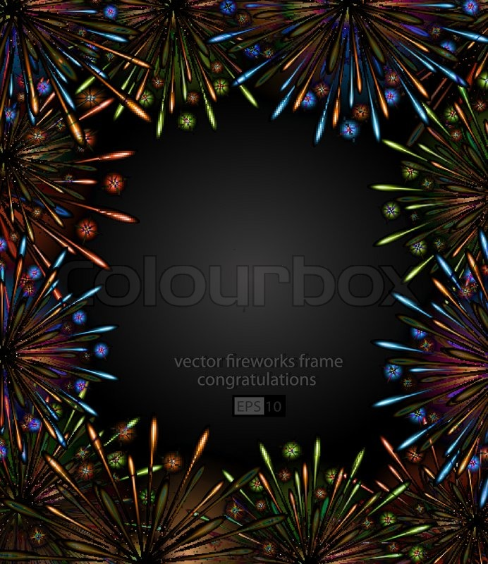 Vector Fireworks Night Frame Color Carnival Show Template
