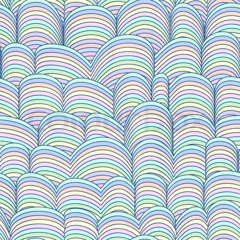 Colorful Seamless Abstract Hand Drawn Pattern Waves