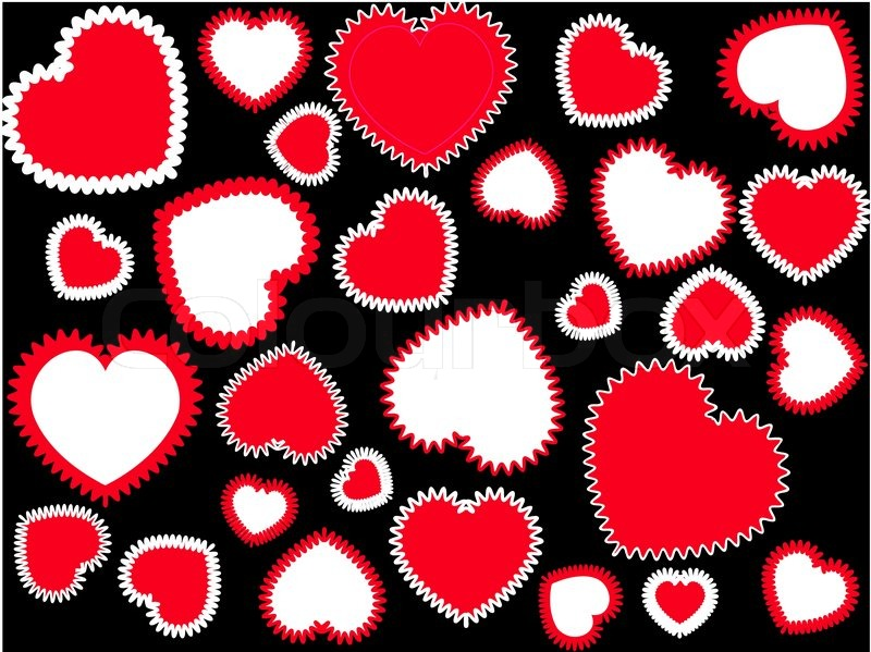 Red And White Hearts On The Black Stock Vector Colourbox