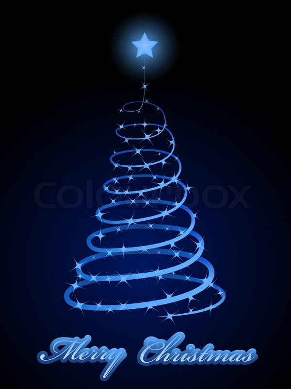 Sparkling Christmas Tree Abstract Vector Card In Blue
