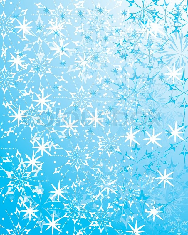 Beautiful Blue Winter Background With Various Snowflakes