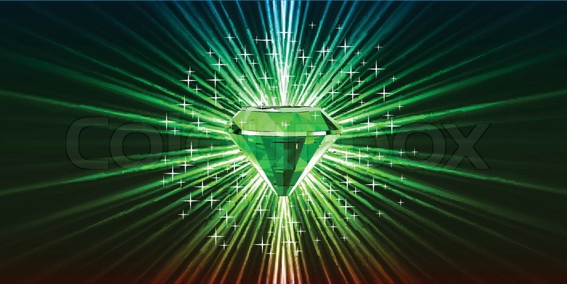 Green Crystal Background With Stars Vector Stock Vector