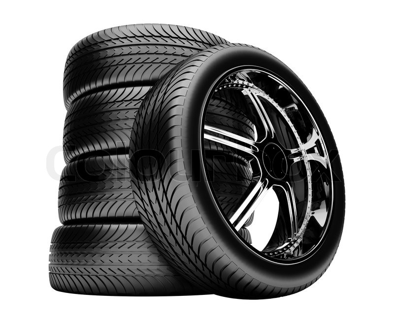 3d Tires Isolated On White Background No Shadow Stock