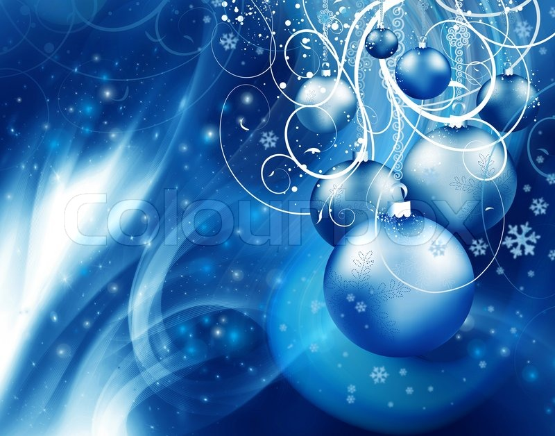 Abstract Christmas Background With Blue Event Balls