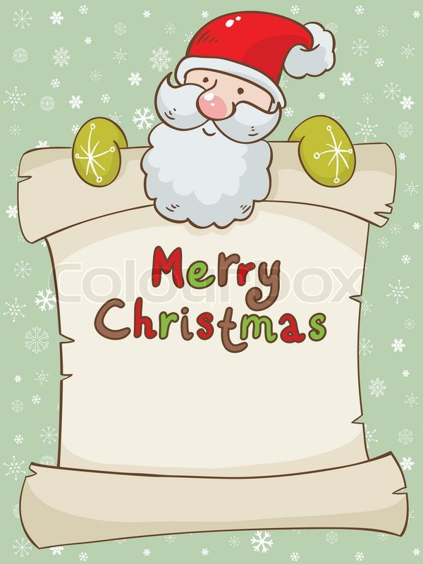 Christmas card with cute Santa and scroll | Stock Vector ...