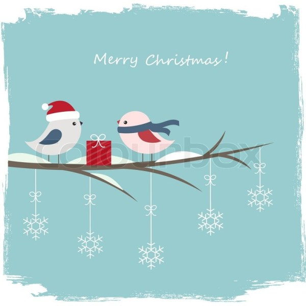 Winter card with cute birds and gift box | Stock Vector ...