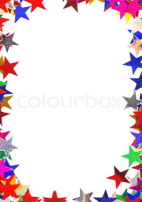 Star Shaped Confetti Of Different Colors Frame Stock