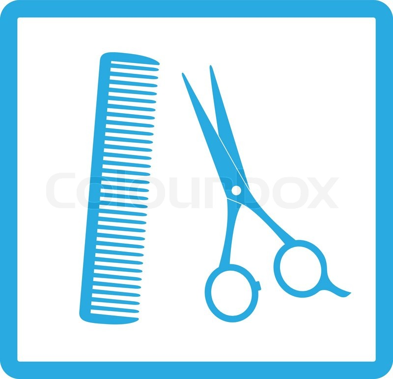 Blue Sign Of Barbershop With Scissors And Comb Stock