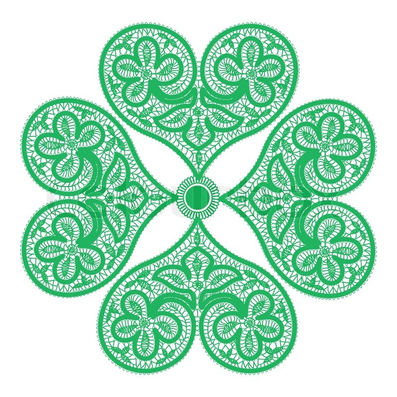 Leaf Clover Made Up Of Green Fishnet Hearts Symbol Of Good Luck Stock Vector Colourbox