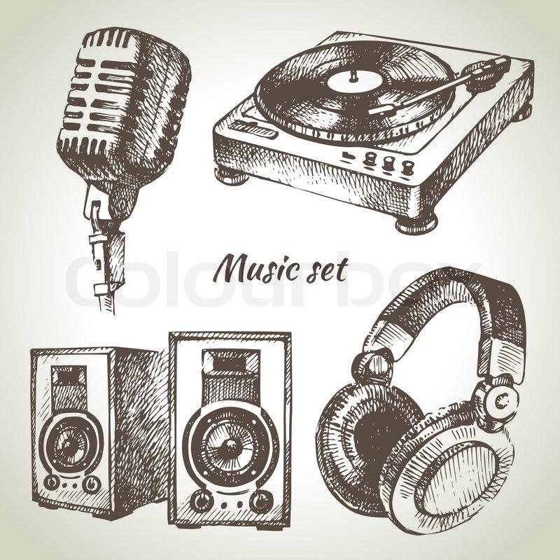 Musik Set Hand Gezeichnete Vektorgrafik Colourbox