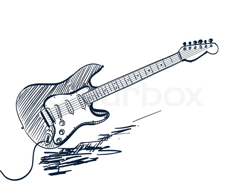 Hand Drawn Electric Guitar On White Stock Vector Colourbox