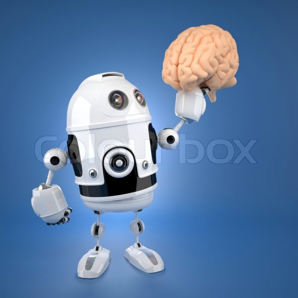Android robot holding brain. Artificial intelligence ...