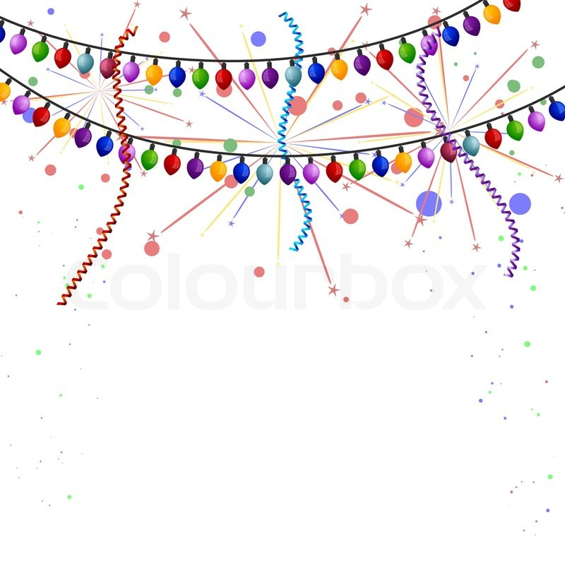 Christmas Lights With Streamers And Fireworks Stock