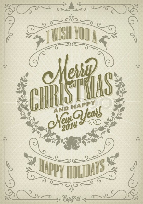 Vintage Christmas Background With Typography Stock
