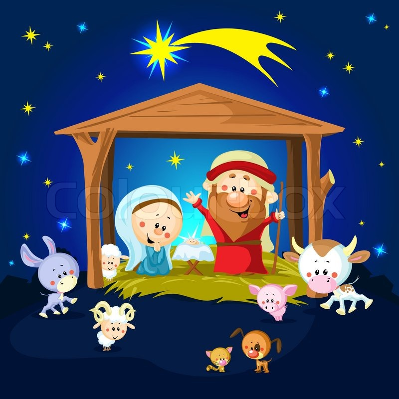 Nativity In Bethlehem With Animals Christmas Vector