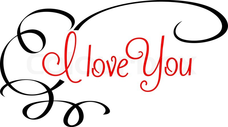Download I Love You header with calligraphic red text surrounded by ...