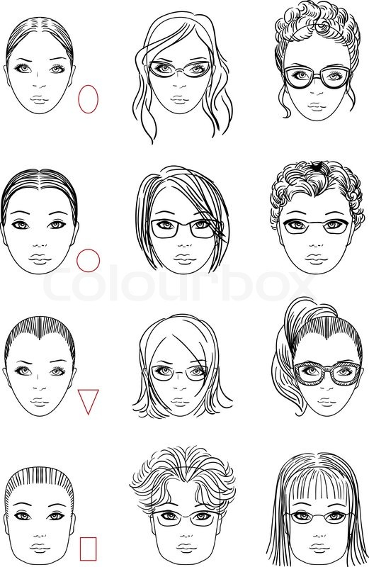 Forms Of Womens Head Types Of Face Stock Vector