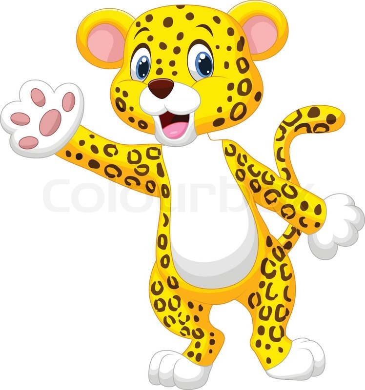 Vector Illustration Of Cute Cartoon Leopard Waving Hand