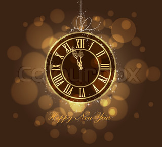 2017 shiny New Year Clock background   Stock Vector   Colourbox Happy New year gold clock