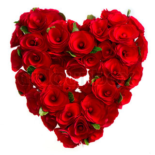 Heart Of Red Roses On White Background Stock Photo