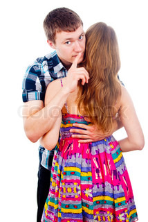 Boy And Girl To Keep Quiet Isolated Indicates Stock