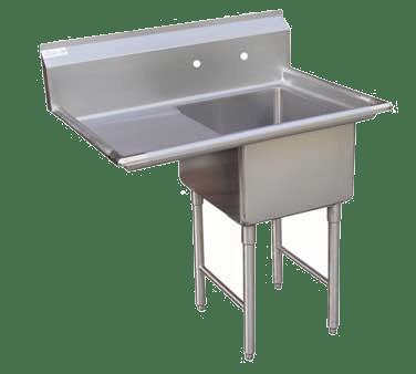 gsw usa one compartment sink w left drain board 18 inches se1818l
