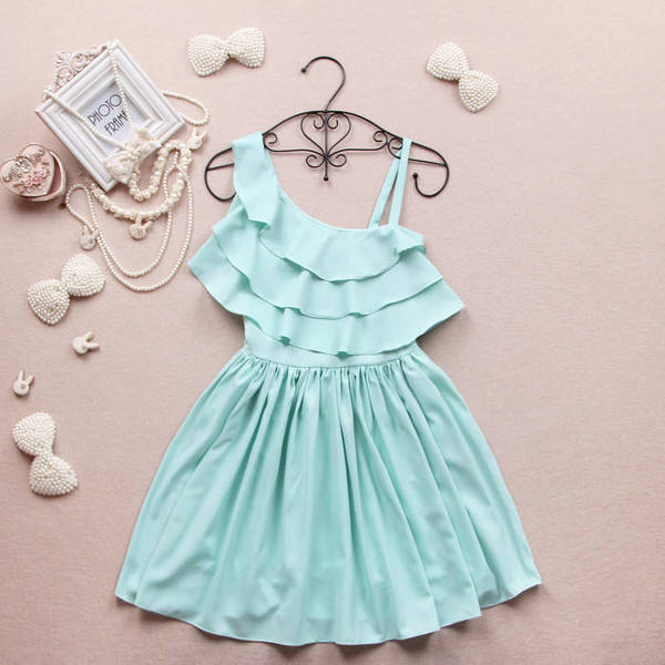 Single shoulder strap inclined shoulder the summer dew shoulder chiffon ruffled dress show thin