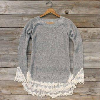 Skyline Lace Sweater in Ash, Sweet Bohemian Sweaters