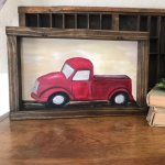 Little Red Truck Painting Measures 7 5 X 11 75 Depop