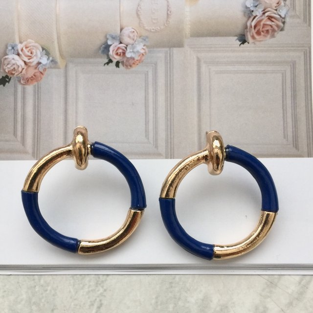 Nautical gold and blue gold alloy round earrings ,navy blue and gold earring,earrings, gold alloy earrings,geometric earrings