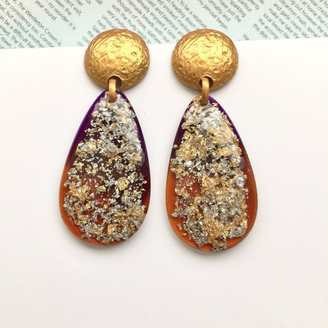 Statement gold Glitter Drop Earrings. Two Piece Large Acrylic Dangles. Oval and Irregular Shaped earrings