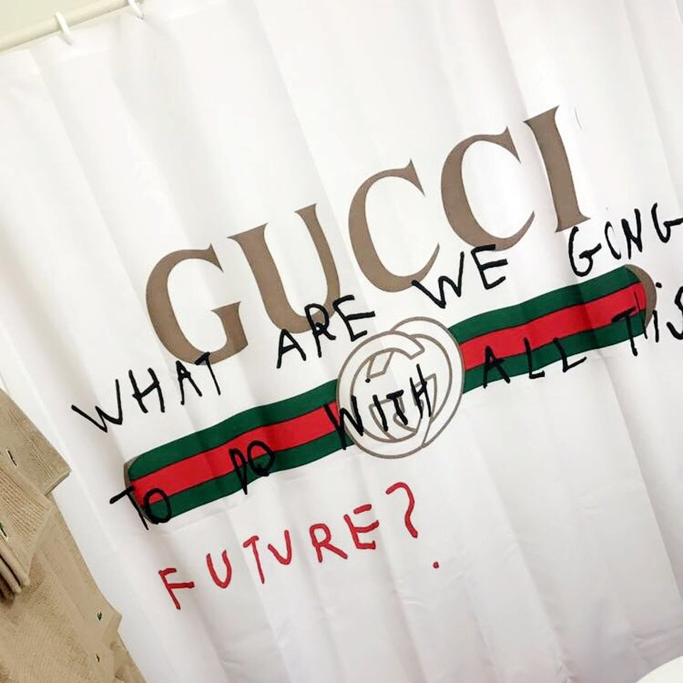 gucci shower curtain from society 6 never used