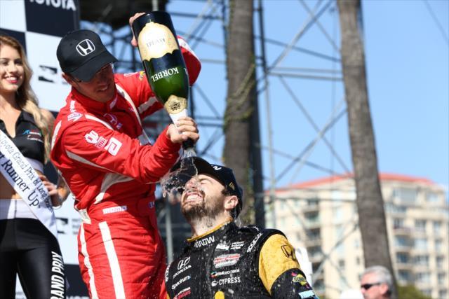 Bourdais y Hinchcliffe, ambos usuarios de Honda, encabezan el campeonato tras dos fechas (FOTO: Chris Jones/INDYCAR)